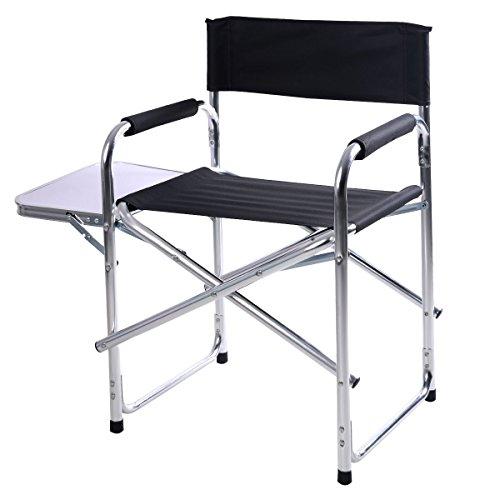 Campingstuhl Faltstuhl Regiestuhl Strandstuhl Gartenstuhl Klappstuhl Angelstuhl Schwarz Aluminium Stuhl mit einer Seitenablage 120kg Belastbarkeit