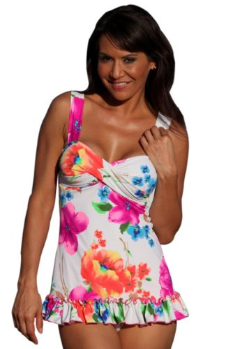 UjENA Summer Blossom Ruffle Tankini Swim Dress