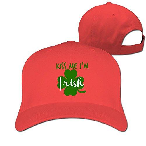 (DMN Unisex Kiss Me I'm Irish Baseball Hip-hop Cap Vintage Adjustable Hats for Women and Men Red,One Size)