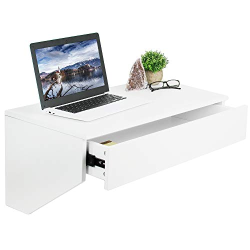 - VIVO White Wall Mounted Desk with 28 inch Surface and Pull Out Drawer | Floating Wall Organizer, Under Storage Workstation (DESK-SF01W)
