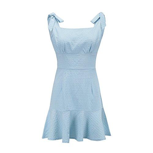 world-palm dress E-81550 Women's Explosion Ruffled Plaid Sling New Dress Women Short Skirt,Blue,XL -