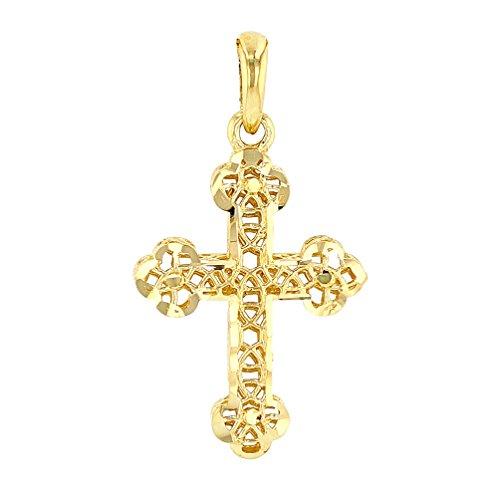 14k Textured Cross (Textured 14K Gold Filigree Eastern Orthodox Cross Charm Pendant)