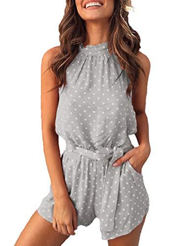 PRETTYGARDEN Women's Summer Polka dot Printed Halter Neck Sleeveless Elastic Waist One Piece Short Jumpsuit Rompers (Grey, Large)