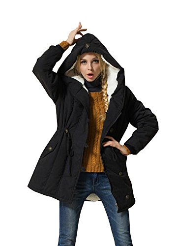 Eleter Women's Winter Warm Coat Hoodie Parkas Overcoat Fleece Outwear Jacket with Drawstring (2X-Large, Black)