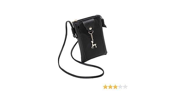Cartera de mujer, RETUROM Bolso de la moneda del teléfono del bolso de hombro de la cubierta de los ciervos de la manera sólida de las mujeres (Negro): ...