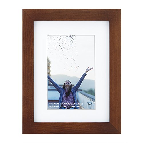 RPJC 6x8 inch Picture Frame Made of Solid Wood and High Definition Glass Display Pictures 4x6 with Mat or 6x8 Without Mat for Wall Mounting Photo Frame Brown