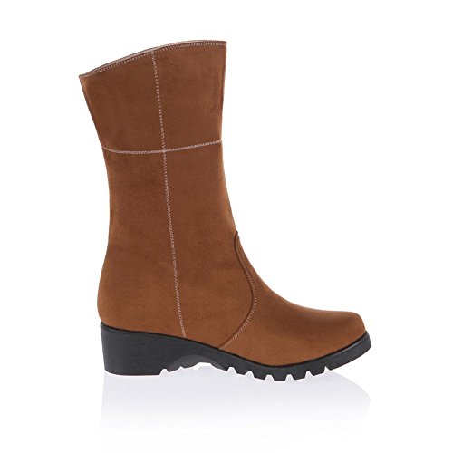 Boots Closed Plush short Soft 7 High Brown Round Solid Heels B Material Womens AmoonyFashion 5 Toe US PU M 5qz75w