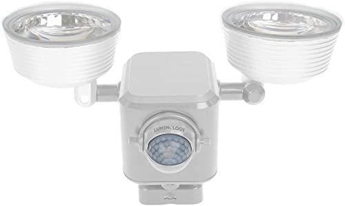 Lumenology Dual Security Motion Sensor Spotlights with Adjustable Heads and Sensitivity – Ultra-Bright 1,000 Lumen LED Flood Light – Waterproof Outdoor White