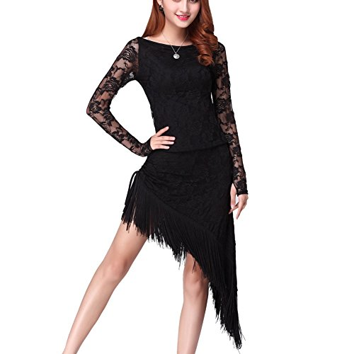 [Fenta Women Belly Dance Latin Cha Cha Tassel Lace Cover Long Sleeve Dancing Dress] (Chacha Dance Costume)