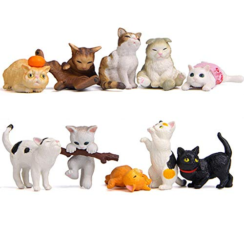 Kimkoala Miniature Cats Toy Decoration Figurines, 10Pcs Cute Naughty Cats Animal Accessories for Miniature Micro Landscaping Fairy Garden Decoration Home Houses Decor Ornament Kids -