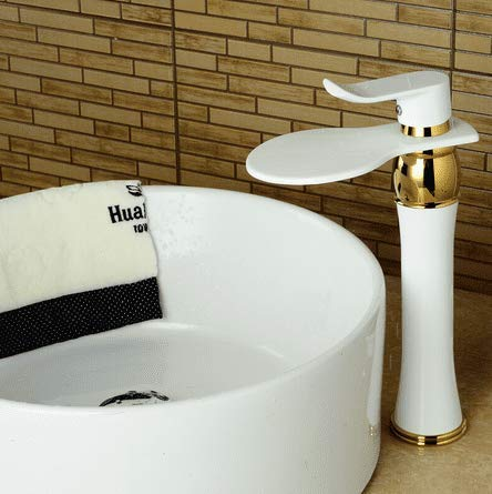 Bathroom Sink Faucet Basin Mixer Tap Waterfall Faucet Bathroom White Mixer Tall Faucet Mixer Waterfall High Basin Mixer Tap White Waterfall Tap