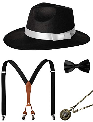 1920s Mens Accessories Gatsby Gangster Costume Accessories Set Manhattan Fedora Hat Suspenders Bow Tie Pocket Watch (7-Black Set)
