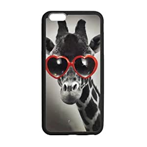 Fashion Design Retro Cute Deer Red Glasses Iphone 6 plus 5.5 Case Shell Cover (Laser Technology) by runtopwell