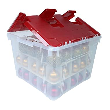 IRIS Holiday Wing-Lid Box with Ornament Dividers 60QT, WL-60