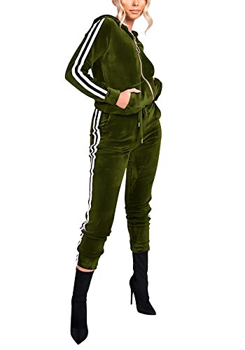 Vamvie Women's Hoodie Zip up Jogging Long Sleeve+Long Pants Velour Striped Tracksuit Set with Pocket (Small, Green) (Green Velour Pants)