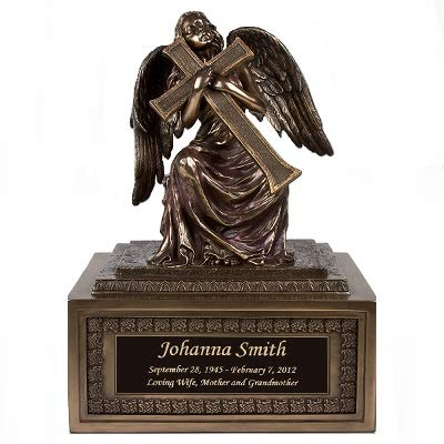 Perfect Memorials Custom Engraved Large Angel with Cross Cremation Urn