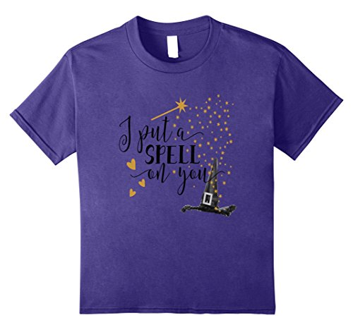 Kids Halloween Shirt Funny Witch I Put A Spell On You Love Hearts 8 Purple