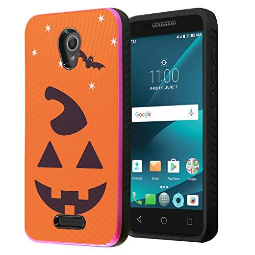 Capsule Case Compatible with Alcatel Verso, Alcatel IdealXcite, Alcatel Raven LTE, Alcatel CameoX, [Embossed Diagonal Lines Hybrid Dual Layer Slim Case Pink Black] - (Halloween Pumpkin) -