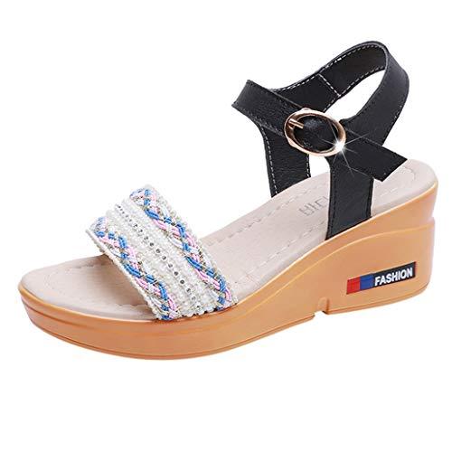 Loosebee Women's Peep Toe Ankle Strap Buckle Espadrille Wedge Sandals
