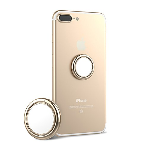 HaloVa Phone Ring Holder, Universal Thin Mirror Finger Ring Stand, 360° Rotation 180° Folded Cellphone Ring Stand Holder for iPhone Samsung, Champagne Gold