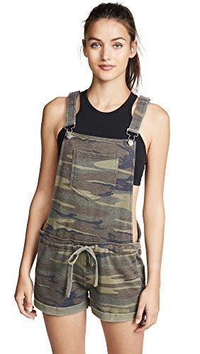 (Z SUPPLY Women's The Camo Short Overalls, Camo Green, Medium)