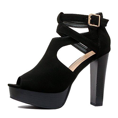 38c5dbf880b Guilty Shoes Womens Cutout Gladiator Ankle Strap Platform Block Heel ...