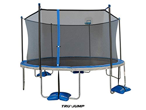 TruJump 14 Foot Outdoor Trampoline with Enclosure and Airdunk Basketball System