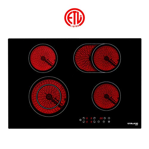 Electric Cooktop, Gasland chef CH77BF 30'' Built-in Electric Stove, 220V Vitro Ceramic Surface Radiant Electric Cooktop, Electric Stove with 4 Burners, ETL Safety Certified, Kids Safety Lock