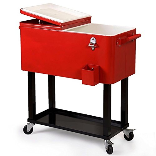 - 80 Quart Outside Patio Deck Cooler Cart Home Party 4 Rolling Wheels Outdoor Patio Garden Picnic Solid Steel Construction Refrigeration Insulation Cooler Body