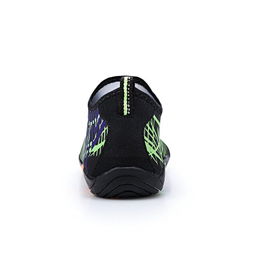 Lanbaosi Mens Womens Barefoot Aqua Socks Quick-dry Slip-on Swim Shoes Nero Verde