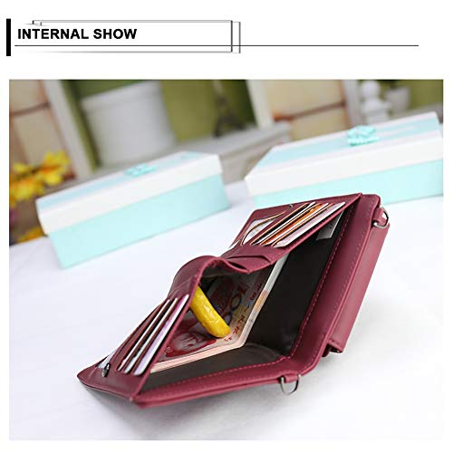 Small Women 2 Crossbody Credit Wallet Card Purse Cell Bag Kukoo Pink with Phone for Slots fBwqdxH