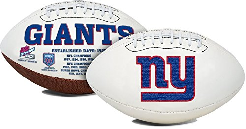 New York Giants Embroidered Logo Signature Series Full Size Football - with Super Bowl XXI, XXV, XLII, XVLI Logo's - New in Box from Creative Sports