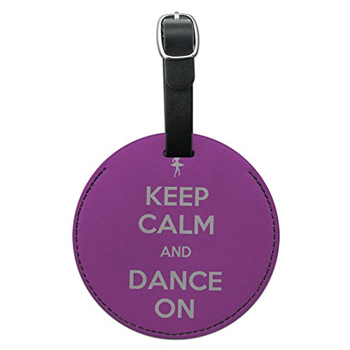 Graphics & More Keep Calm and Dance on Ballet Dancer Round Leather Luggage Id Tag Suitcase, Black