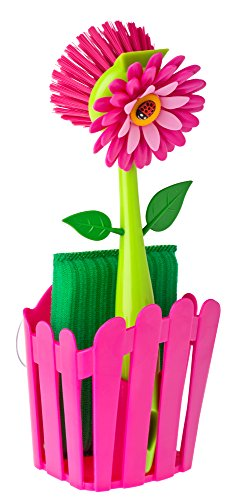 Vigar Flower Power Pink Sink Side Set With Suction Pad, 9-3/4-Inches, Pink, (Pink Items)