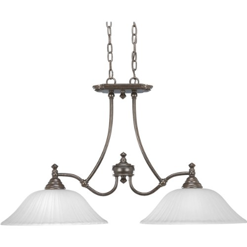 Progress Lighting P4113-77 2-Light Renovations Linear Chandelier, Forged Bronze