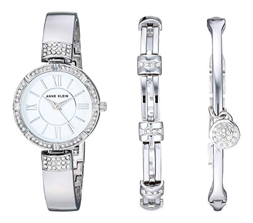 Anne Klein Women's AK/3295SVST Swarovski Crystal Accented Silver-Tone Bangle Watch and Bracelet Set Bracelet Style Wrist Watch