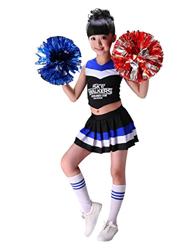 Cheerleader Costume Child Cheer Costume Outfit Carnival Party Halloween Cosplay with Pom poms for Sports Girls Boys (110cm, Black) -