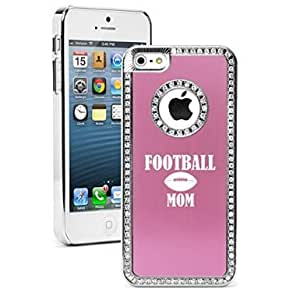 Apple iPhone 5c Rhinestone Crystal Bling Hard Case Cover Football Mom (Light Pink)
