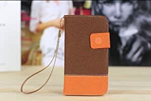 Angelia 2014 Fashion New Retro Wallet Pu Leather Case for Iphone 5 5s 5g Luxury Vintage with Stand (Brown/orange)