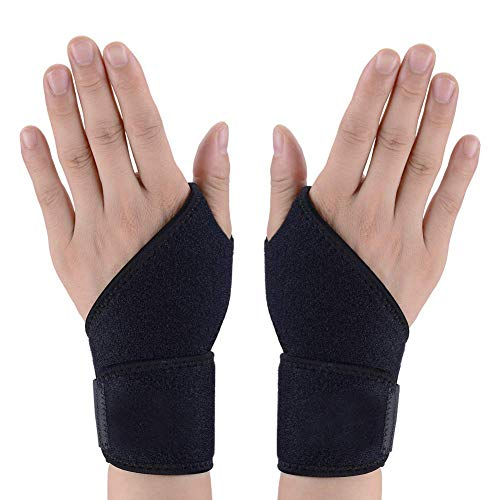 HDYOSZ Sports Wrist Brace, 1 Pair Wrist Wraps for Men and Women, Adjustable Athletic Hand Brace for Sprains, Carpal Tunnel Syndrome, Wrist Tendonitis Pain Relief, for Left and Right Hand