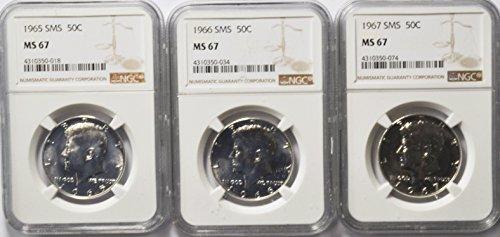 1965 P SMS Kennedy Half Dollar Set SMS 1965-1967 MS67 (1967 Silver Kennedy Half Dollar)