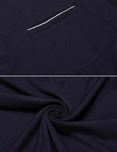 COOFANDY Men's Long Sleeve Polo Shirt Classic Causal Business Slim Fit Cotton Short Sleeve Polo T Shirts,Navy Blue,Large by COOFANDY (Image #4)