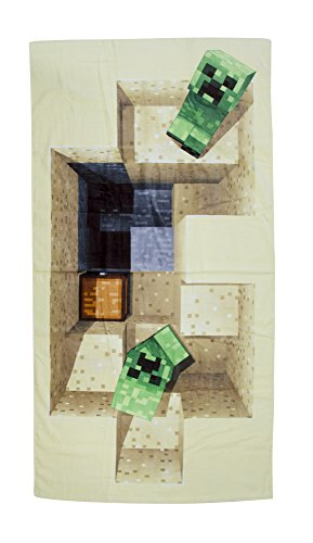 Minecraft Defeat Design Towel, Cotton, Beige, 140 x 70 x 2 cm