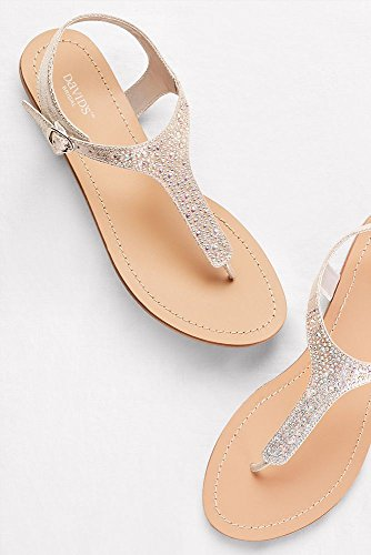 7e35c7015 David s Bridal Metallic T-Strap Thong Sandals with Crystals Style Minka