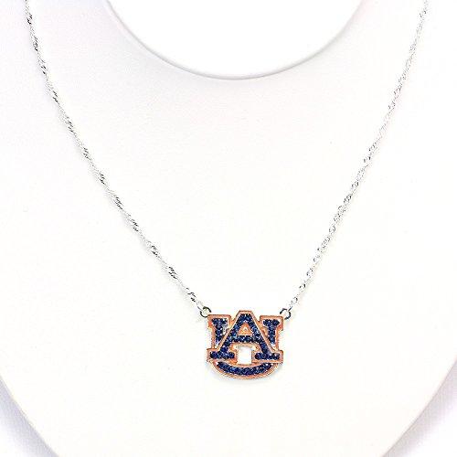 Auburn Tigers Crystal Necklace - Seasons Jewelry Auburn University Crystal Logo Necklace