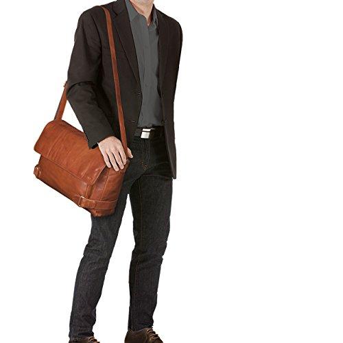 STILORD 'Luca' Vintage Bolso Mensajero de 15,6 pulgadas compartimento para el portátil Uni Recreación oficina de muchos temas de cuero, Color:marrón oscuro - opaco cognac - brillante