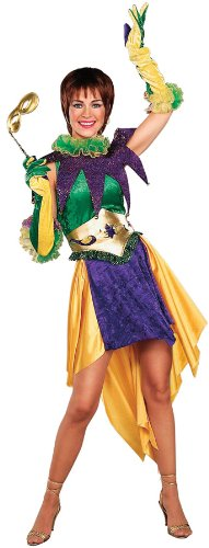 Forum Mardi Gras Miss Costume, Green/Gold/Purple, Adult -