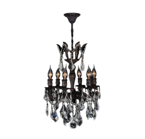 Worldwide Lighting Versailles Collection 6 Light Flemish Brass Finish and Clear Crystal Mini Chandelier 15