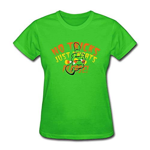 Aoyangqueus NO TRICKS Just Treats Please! Halloween Design Women's Short Sleeve T Shirt Size L ColorKellyGreen