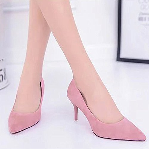 Rawdah Fashion Women Nude Shallow Mouth Fashion Elegant Ladies Casual Suede Solid Color Office Work High Heels Shoes Pink dIpyUdJ